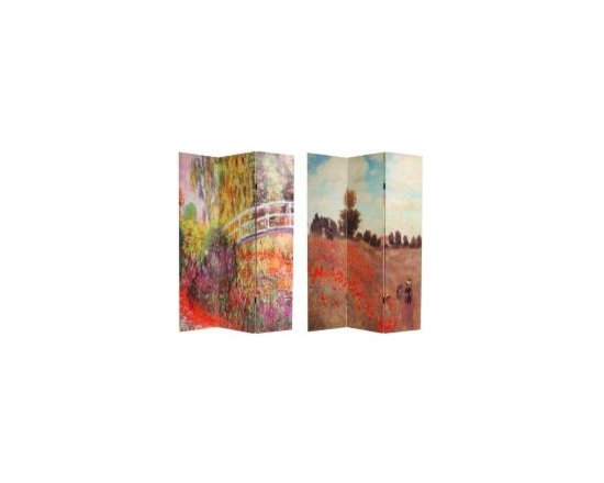 "Functional Art/Photography Printed on a 6ft Folding Screen - two classic paintings by Monet, ""Water Lilies"" on one side and ""Coquelicots"" or ""Poppies"" on the other printed on a 6ft folding screen room divider partition"