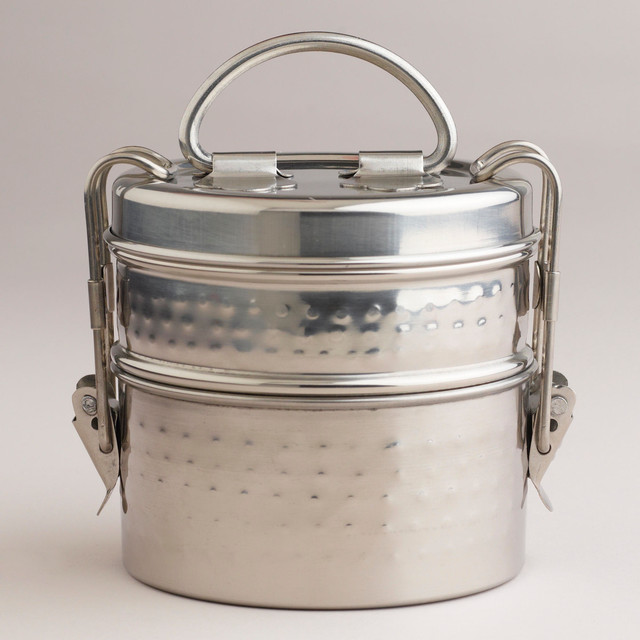 Hammered Metal Tiffin Lunch Box traditional food containers and storage