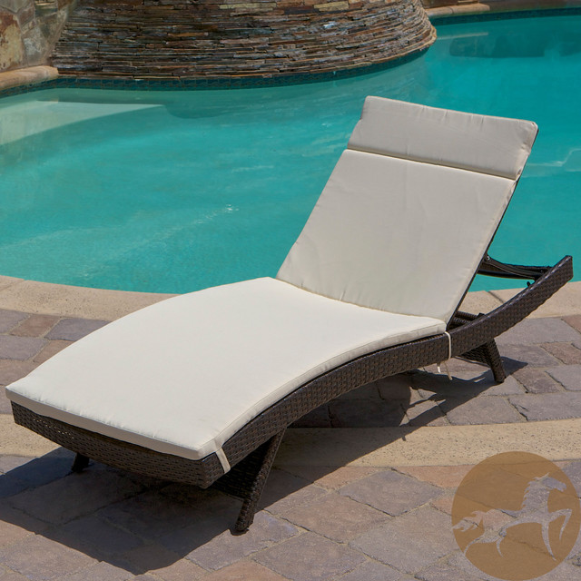 Christopher Knight Home Outdoor Brown Wicker Adjustable Chaise Lounge with Cushi contemporary-day-beds-and-chaises