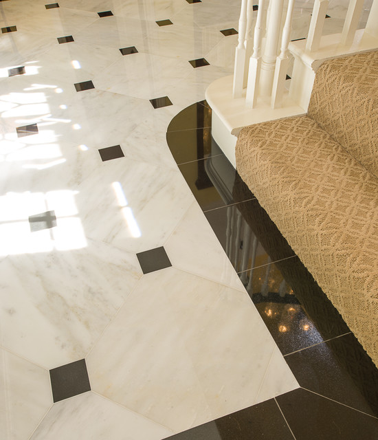 Marble foyer traditional dallas by american tile stone for Foyer floor designs