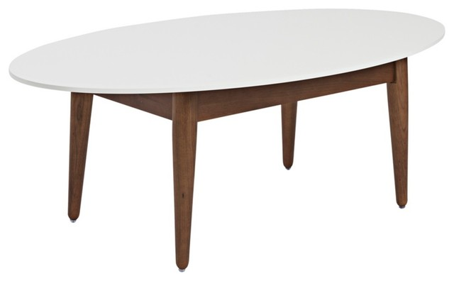 Dark Walnut And White Oval Coffee Table Contemporary Dining Tables
