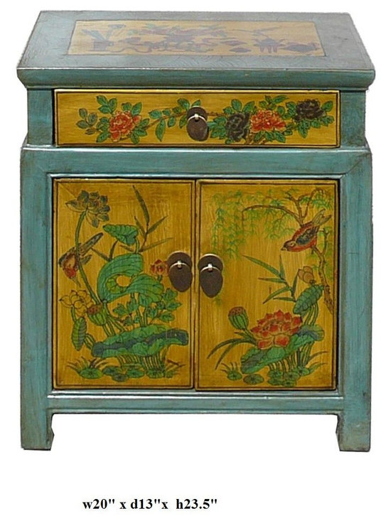 Chinese Blue & Yellow End Table w Flower Birds Graphic - This is a side table / nightstand with rustic vintage pastel blue yellow lacquer finish. A colorful scenery of Asian flowers & birds scenery is drawn on the door, drawer and top. Bird and flower position is different for each table.