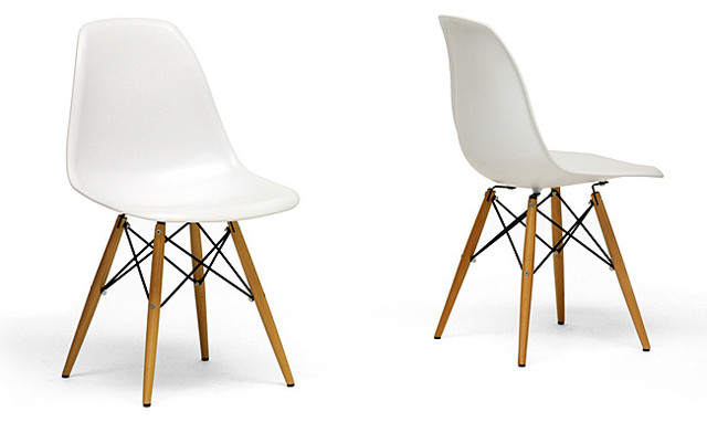 Wood Leg White Accent Chairs Modern Dining By