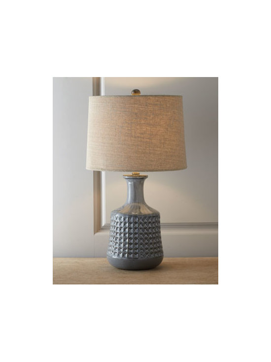 "Horchow - Gray ""Cooper"" Bottle Table Lamp - Table lamp with a classic bottle-shaped base is wrapped in a band of dimpled squares and given a gray reactive glaze. Handcrafted of ceramic with brass accents. Linen shade backed with recycled fiberboard. Three way switch; uses one 150-watt bulb. 1..."