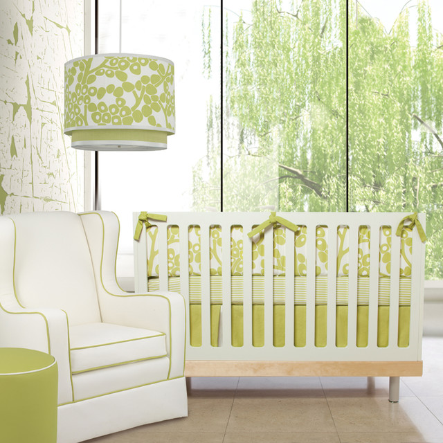Modern Berries Motif Three-Piece Crib Set in Spring Green modern-cribs