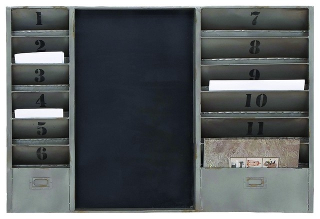 Industrial Style Wall Rack Black Board 12 File Slots Home ...