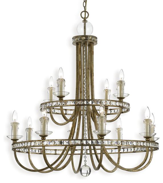 Aristocrat Soft Gold Crystal Hollywood Regency 12 Light Chandelier farmhouse-chandeliers