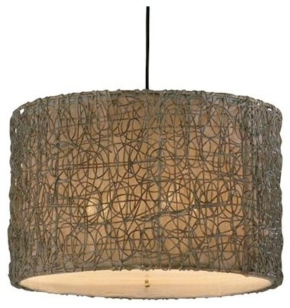 Knotted Rattan Drum by Uttermost contemporary-pendant-lighting