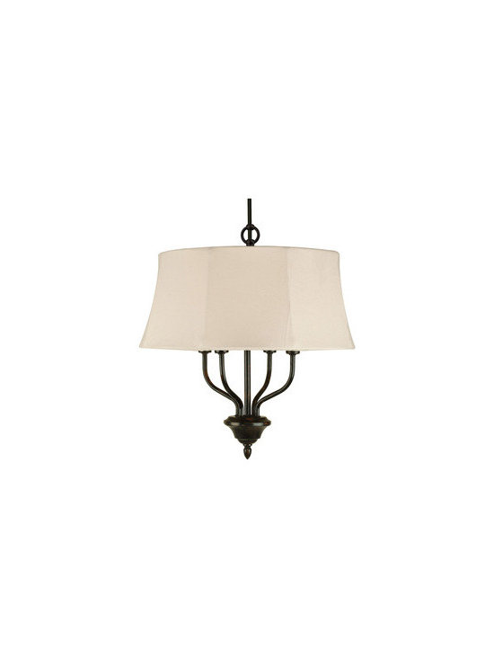 Royce Lighting - 4 Light Dark wood Chandelier By Royce Lighting - The  collection from Royce Lighting will add a classical look to your outdoor decor. Glass / Shade Type:    Cream Canvas Fabric. This 4-Light chandelier with cream canvas weather resistant shade and dark wood finish is an absolutely terrific way to accent your home's exterior.