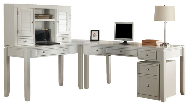 desk with hutch and rolling file in cottage white transitional desks