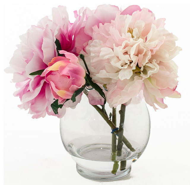 Silk Fuchsia Light Pink Peony Bud Faux Arrangement & Centerpiece for Home Decor contemporary-artificial-flower-arrangements