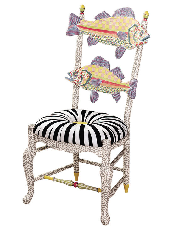 Freckle Fish Chair - Black & White Seat | MacKenzie-Childs - Forget catch and release! Our Freckle Fish Chair with Black and White Seat is stocked with enough speckles and spots that even the most avid sport fishing fan will call this a keeper. This carved maple-frame chair features a pair of composition fish inspired by our Cayuga Lake perch, and is hand-painted by our master artisans with a palette of vibrant colors and iconic designs. The cushioned seat of salt-and-pepper cotton chintz with a saffron damask silk button is the perfect seasoning for this swimmingly supreme seat. Add a splash of piscine playfulness to your home with this classic Freckle Fish Chair.