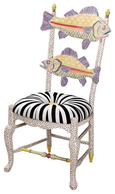 Freckle fish chair black white seat mackenzie childs for Mackenzie childs fish rug