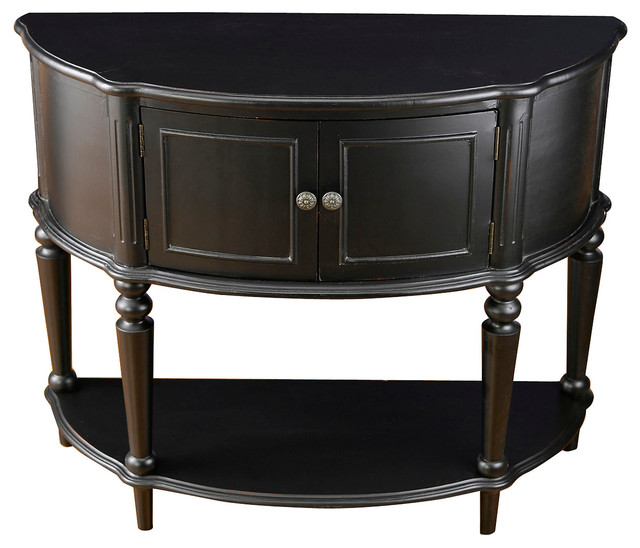 Hannah Demilune Cabinet, Black - Contemporary - Accent Chests And Cabinets
