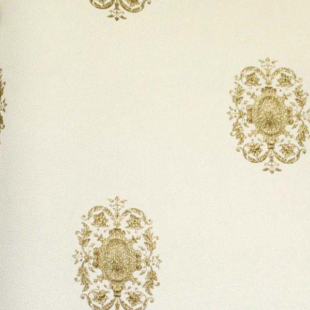 Astek The Gardens of Amsterdam White Small Gold Emblem Wallpaper eclectic-wallpaper