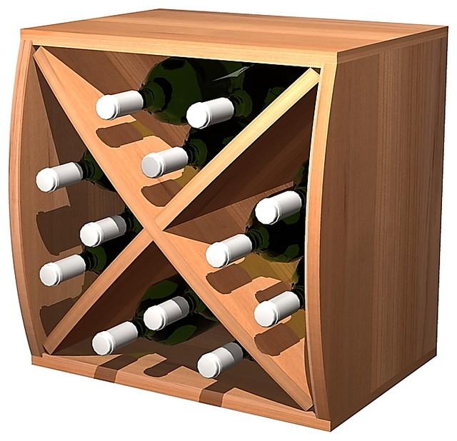 Convex Curvy Wine Cube with Diamond Insert - Light Stain contemporary-wine-racks