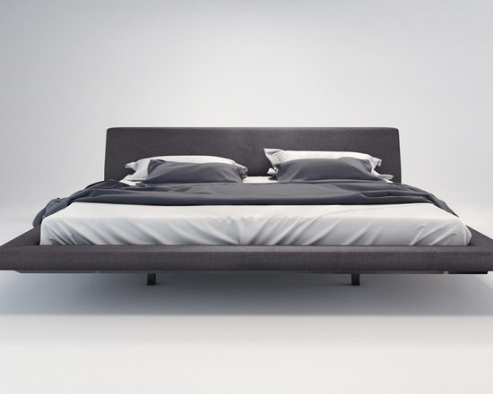 Jane Bed by Modloft - The hip, yet timeless Jane bed makes for a stunning centerpiece in any bedroom. Bed is offered in a luxurious tweed fabric. The mattress sits snuggly atop a solid pine-slat base for stylistic durability and added comfort. Platform height measures 11 inches (3 inch inset). Available in California-King, Standard King, Queen, and Full sizes. Available in Beige fabric (made of poly/cotton/viscose/linen blend). Steel frame construction. Assembly required. Mattress not included. Imported.