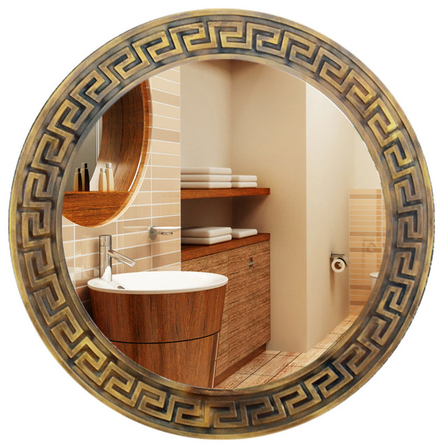 Asian Style Round Carved Bathroom Mirrors - Asian - Bathroom Mirrors - other metro - by DINTIN