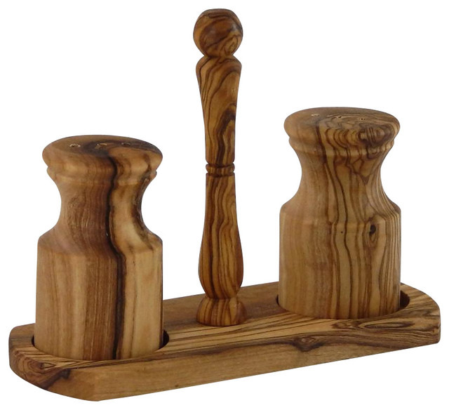 Olive Wood Salt Amp Pepper Shakers With Holder