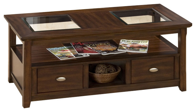 Jofran 709-1 Bellingham Brown Double Header Cocktail Table traditional-coffee-tables