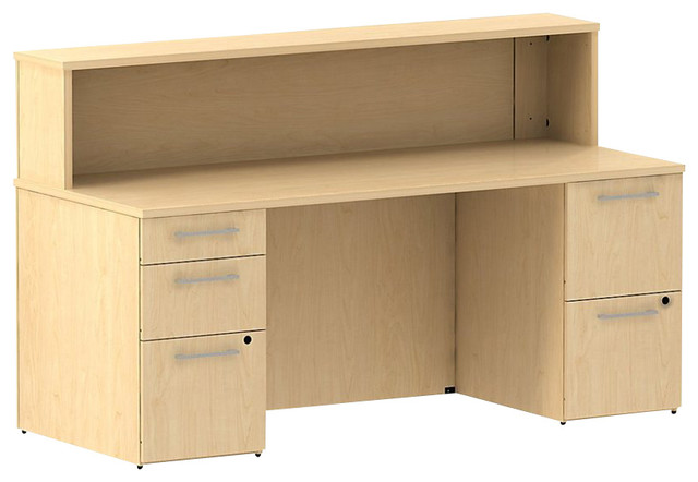"""Bush 300 Series 72"""" Double-Pedestal Reception Desk in Natural Maple transitional-desks-and-hutches"""