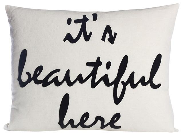 It's Beautiful Here, Cream Canvas/Black contemporary-decorative-pillows