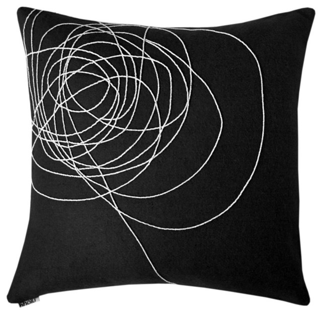 Bholu - Dharti Charcoal/Cream Pillow modern-pillows