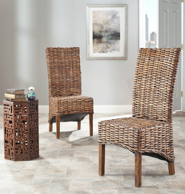St Thomas Isla Indoor Wicker Brown High Back Side Chairs (Set of 2 ...