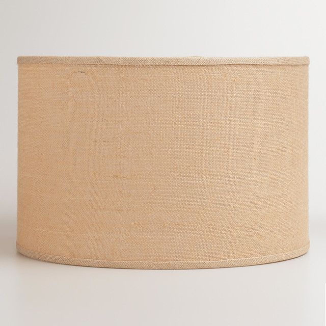 natural burlap drum floor lamp shade contemporary. Black Bedroom Furniture Sets. Home Design Ideas