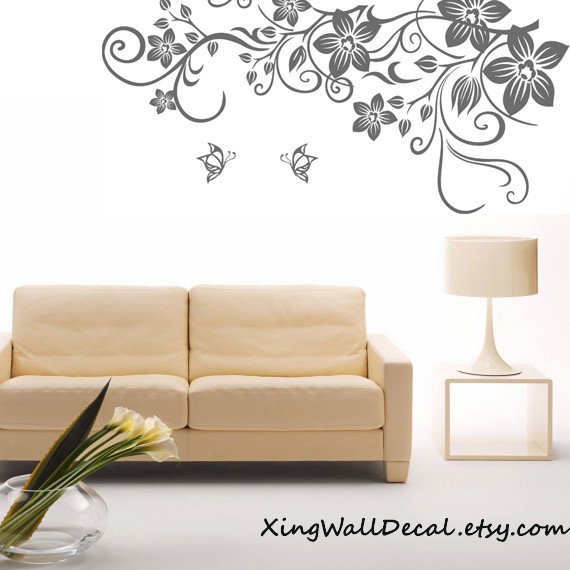 Floral Wall Decal Vinyl Wall Decal Wall Decor Wall Art