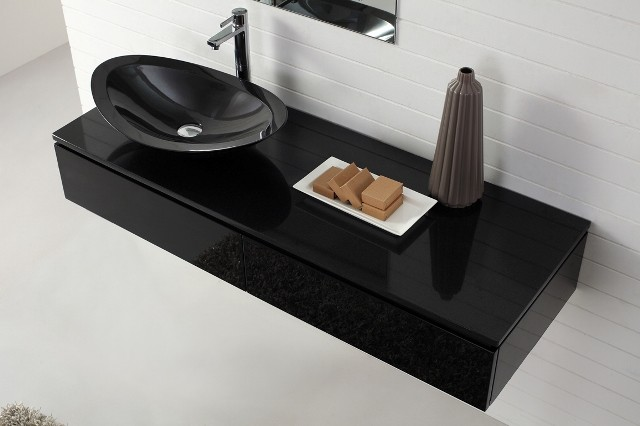 Nero Wall Hung Black Vanity With Stone Top Basin Modern Bathroom Vaniti