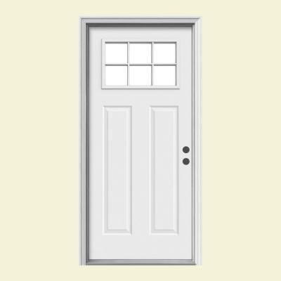 JELD WEN Door Premium 6 Lite Craftsman Primed White Steel Entry Door With Br
