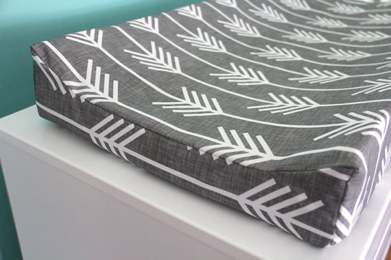 Charcoal Arrow Contoured Changing Pad Cover By Iviebaby