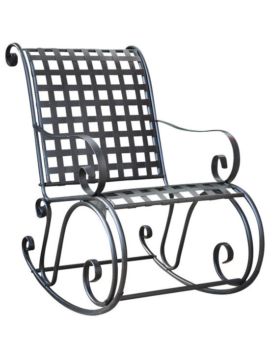 International Caravan - International Caravan Mandalay Iron Scroll Rocker - International Caravan - Rocking Chairs - 3453 - With a comfortable grid seat and back this durable outdoor rocker will soon be your favorite companion. Made with sturdy iron the frame still allows plenty of comfort with curved armrests contoured seat and generous proportions. Comes in an antique black finish.