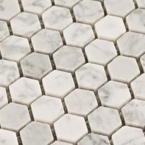 Hexagons Carrara Hexagon Marble Mosaic Tile Traditional Wall And