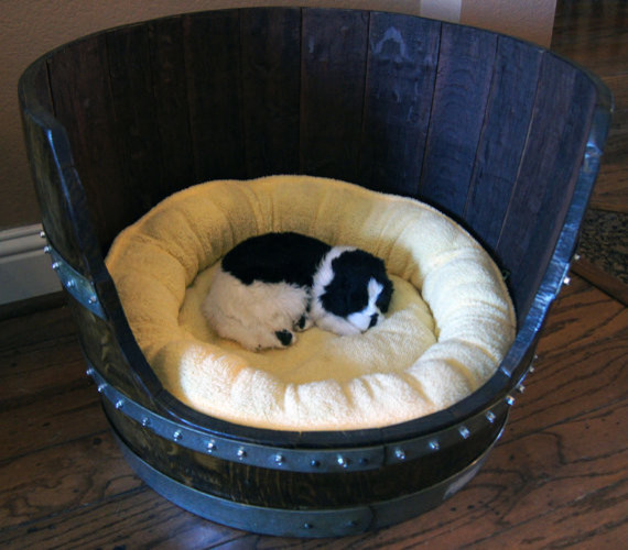 Wine Barrel Pet Bed by Wine Barrel Woodcraft eclectic-pet-supplies