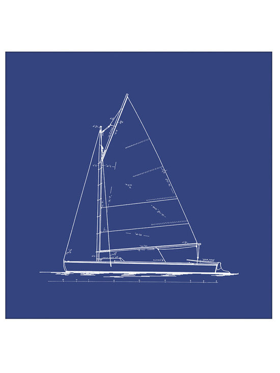 Big Fish Sailboat Blueprint In Blue III Wall Art