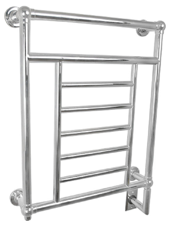 Amba - Classic 25x35 Electric Heated Towel Warmer - Rounded Bars with finials at each corner.