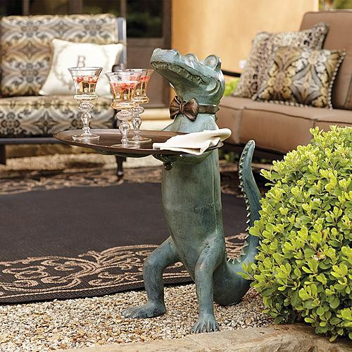 Belvedere alligator table frontgate traditional for Alligator yard decoration
