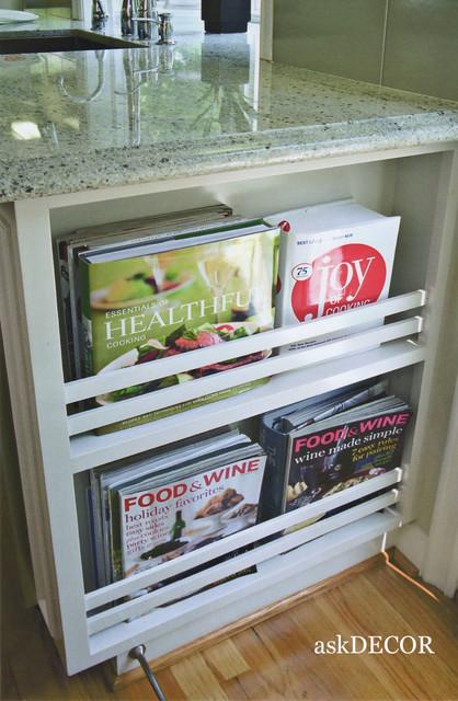 built-in cookbook rack contemporary