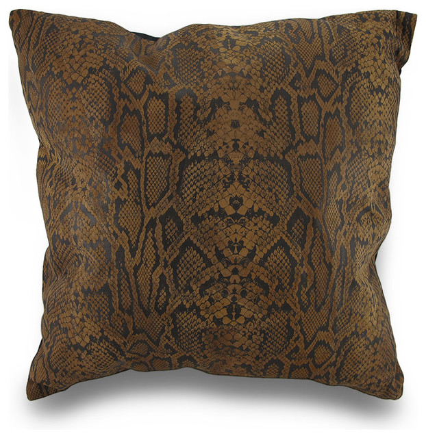 Brown and Black Snakeskin Print Leather Patchwork Throw Pillow 17 In. - Transitional ...