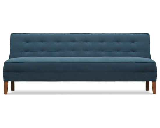 Rennie Sofa - Our Rennie Sofa is mid-century modern, so well captured. With armless seating, a grid-tufted back, and tall tapered wood legs this petite scale offers true comfort not often found with a tight seat.