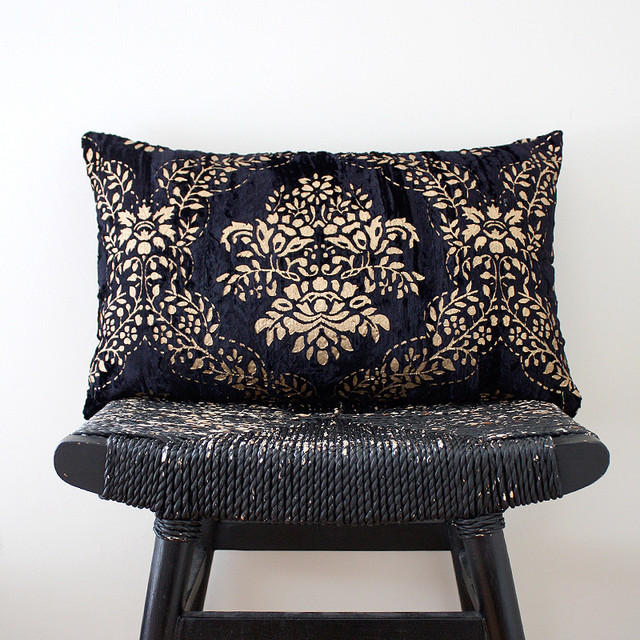 Dark Blue Crushed Velvet with Gold Pillow - Traditional - Decorative Pillows - other metro - by ...