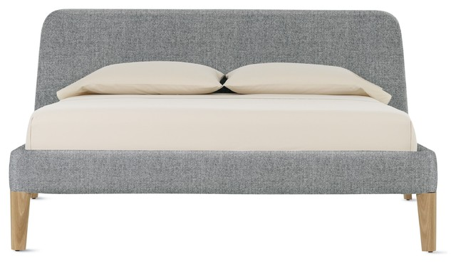Parallel Full Bed in Fabric, Oak modern-beds