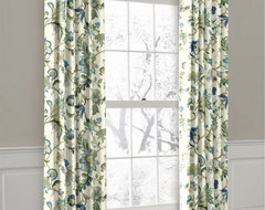 White, Green and Blue Floral Ring Top Drapery Panel curtains