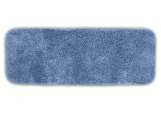 "Sands Rug - Posh Plush Light Indigo Washable Bath Rug (1'10"" x 5') - Revel in spa-like luxury every time you step into your bath with the Posh Plush collection of bath rugs. The amazingly soft, yet durable, nylon plush is machine washable, and each floor piece has a non-skid latex backing for safety."