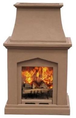 Desert Tan Pedestal Outdoor Fireplace - Contemporary ...