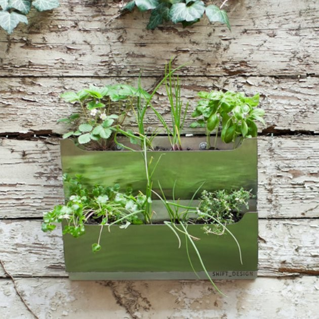 Rectangle metal wall mounted cedar herb garden planter contemporary indoor pots and planters - Wall mounted planters outdoor ...