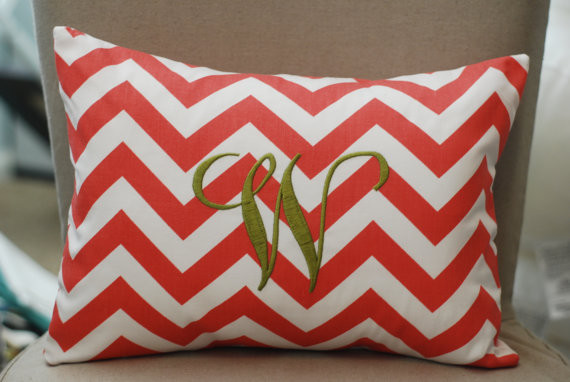 Monogrammed Coral Chevron Print Throw Pillow by Tootledoo Designs modern-decorative-pillows