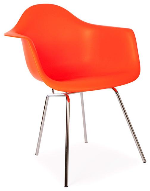 Mid Century Retro DAX Style Metal Leg Dining Lounge Arm Chair, Orange - Midcentury - Dining ...